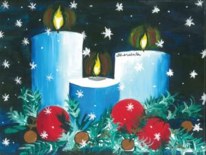painting of candles with snow falling